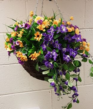 XXL 16 inch Round Wicker Artificial Flower Hanging Basket - Purple and Yellow